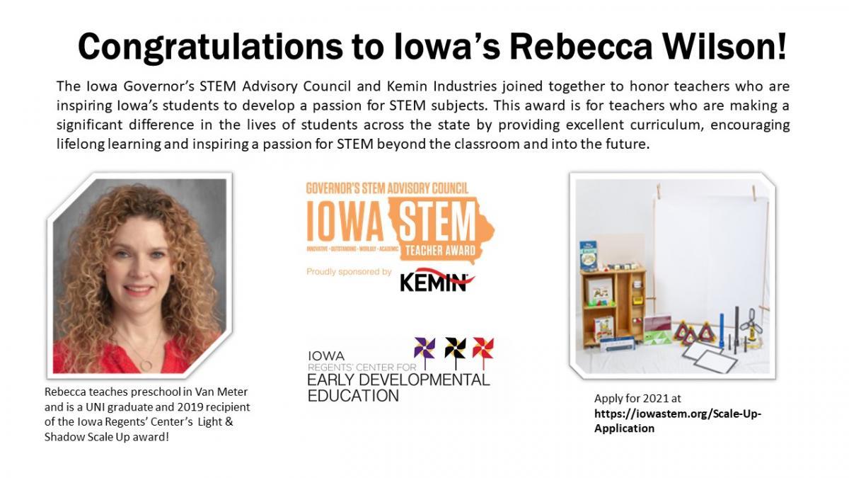 Winner of Iowa STEM Teacher Award