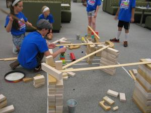 Children utilize ramps and pathways