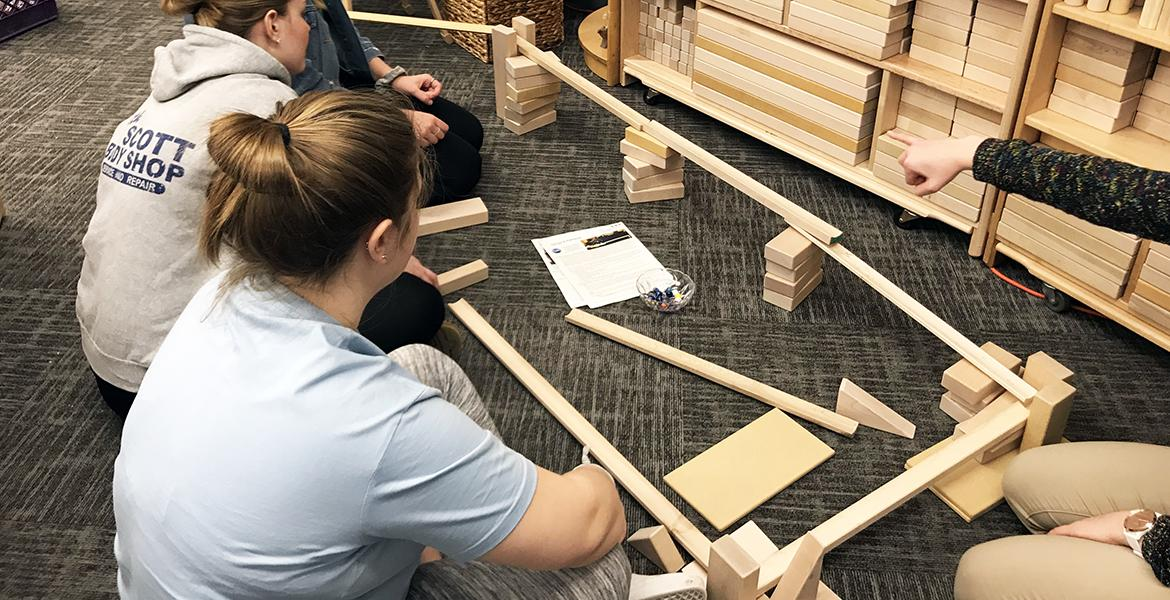students building with ramps
