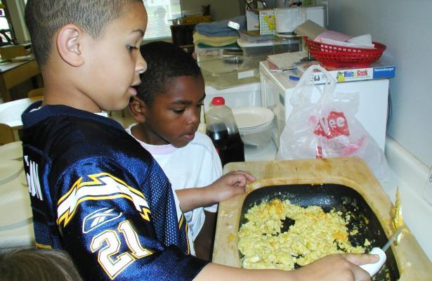 Scrambled eggs almost done