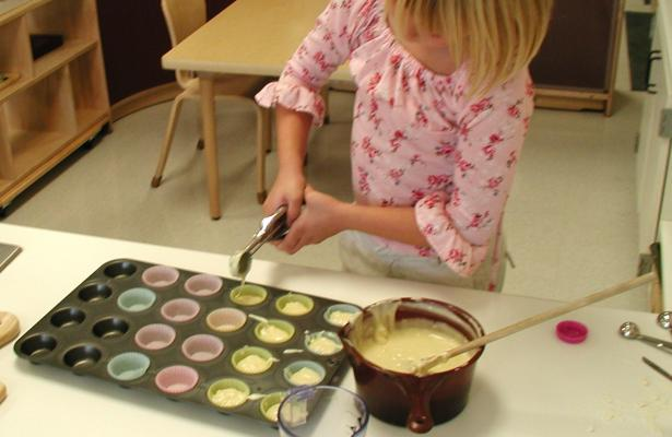 Pouring batter onto muffin pan