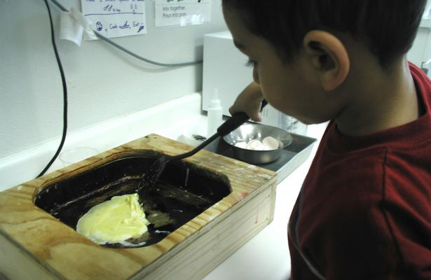 Turning scrambled eggs